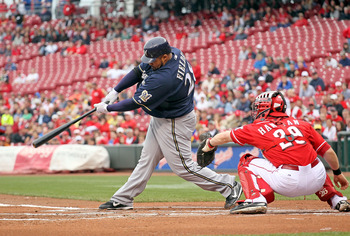 CINCINNATI - MAY 18:  Prince Fielder #28 of the Milwaukee Brewers hits a double during the game against the Cincinnati Reds at Great American Ball Park on May 18, 2010 in Cincinnati, Ohio.  (Photo by Andy Lyons/Getty Images)