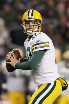 FOXBORO, MA - DECEMBER 19:  Quarterback Matt Flynn #10 of the Green Bay Packers looks to pass during the third quarter of the game against the New England Patriots at Gillette Stadium on December 19, 2010 in Foxboro, Massachusetts. The Patriots won the ga