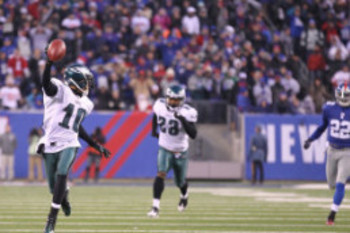 Desean Jackson looks back on the trail of dead he leaves behind as he enters the endzone with :00 showing on the game clock