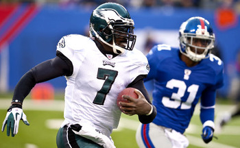 Vick was contained for three quarters by the Giants, but then exploded in the 4th.