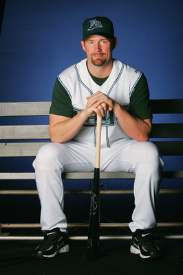 ST. PETERSBURG, FL - FEBRUARY 23:  Aubrey Huff #19 poses during Tampa Bay Devil Rays photo day February 23, 2006 at the Raymond A. Naimoli Baseball Complex in St. Petersburg, Florida. (Photo by Jamie Squire/Getty Images)