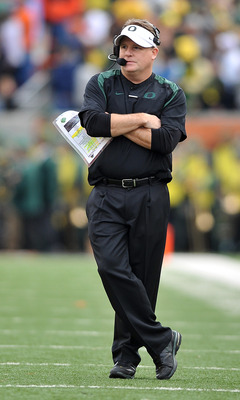 CORVALLIS, OR - DECEMBER 4: Head coach Chip Kelly of the Oregon Ducks looks on from the sidelines in the second quarter of the game against the the Oregon State Beavers at Reser Stadium on December 4, 2010 in Corvallis, Oregon. The Ducks beat the Beavers