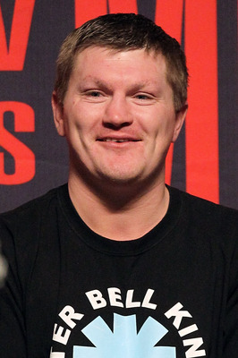 LAS VEGAS - APRIL 30:  Boxer Ricky Hatton smiles from the stage before the start of the Floyd Mayweather Jr. and Shane Mosley weigh-in at the MGM Grand Garden Arena on April 30, 2010 in Las Vegas, Nevada. Mayweather and Mosley will meet in a 12-round welt