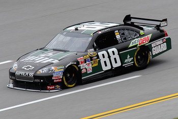 TALLADEGA, AL - OCTOBER 30:  Dale Earnhardt Jr. drives the #88 AMP Energy Get on the 88/National Guard Chevrolet during practice for the NASCAR Sprint Cup Series AMP Energy 500 at Talladega Superspeedway on October 30, 2009 in Talladega, Alabama.  (Photo