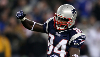 FOXBORO, MA - DECEMBER 19:  Wide receiver Deion Branch #84 of the New England Patriots celebrates a first down during the fourth quarter of the game against the Green Bay Packers at Gillette Stadium on December 19, 2010 in Foxboro, Massachusetts.  (Photo