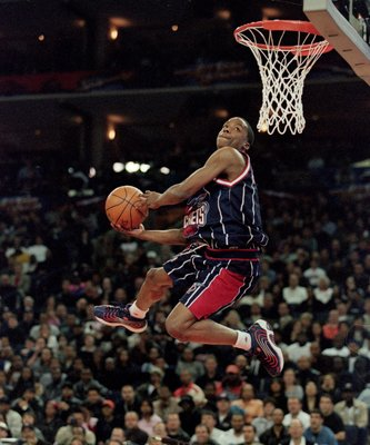 12 Feb 2000: Steve Francis #3 of the Houston Rockets jumps to the basket during the NBA Allstar Game Slam Dunk Contest at the Oakland Coliseum in Oakland, California.    Mandatory Credit: Jed Jacobsohn  /Allsport