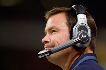 ST. LOUIS - NOVEMBER 29:  Head coach Jim Mora of the Seattle Seahawks looks on from the sideline against the St. Louis Rams at the Edward Jones Dome on November 29, 2009 in St. Louis, Missouri.  The Seahawks beat the Rams 27-17.  (Photo by Dilip Vishwanat