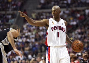 AUBURN HILLS, MI - JUNE 19:  Chauncey Billups #1 of the Detroit Pistons directs his team's offense in the second quarter over Tony Parker #9 of the San Antonio Spurs in Game five of the 2005 NBA Finals at The Palace of Auburn Hills on June 19, 2005 in Aub