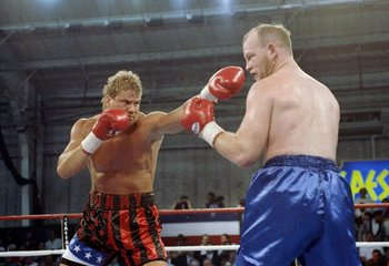 20 Mar 1992:  Jerry Wimpy Halstead (right) and Tommy Morrison in action during a bout. Mandatory Credit: Gary Newkirk  /Allsport