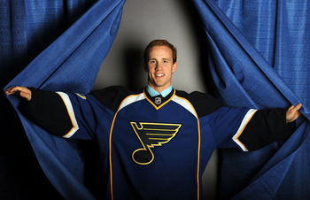 LOS ANGELES, CA - JUNE 25:  Jaden Schwartz, drafted 14th overall by the St. Louis Blues, poses for a portrait during the 2010 NHL Entry Draft at Staples Center on June 25, 2010 in Los Angeles, California.  (Photo by Harry How/Getty Images)