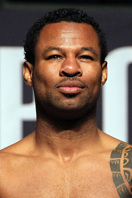LAS VEGAS - APRIL 30:  Boxer Shane Mosley steps on the scale to weigh 147 pounds during the weigh-in for his bout against Floyd Mayweather Jr. at the MGM Grand Garden Arena on April 30, 2010 in Las Vegas, Nevada. Mayweather and Mosley will meet in a 12-ro
