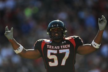 DALLAS - JANUARY 02:  Brian Duncan #57 of the Texas Tech Red Raiders during play against the Mississippi Rebels during the AT&T Cotton Bowl on January 2, 2009 at the Cotton Bowl in Dallas, Texas.  (Photo by Ronald Martinez/Getty Images)