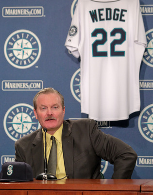 SEATTLE - OCTOBER 19:  New manager Eric Wedge of the Seattle Mariners is introduced to the media at Safeco Field on October 19, 2010 in Seattle, Washington. (Photo by Otto Greule Jr/Getty Images)