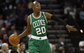 CHARLOTTE, NC - DECEMBER 11:  Ray Allen #20 of the Boston Celtics calls a play against the Charlotte Bobcats during their game at Time Warner Cable Arena on December 11, 2010 in Charlotte, North Carolina. NOTE TO USER: User expressly acknowledges and agre