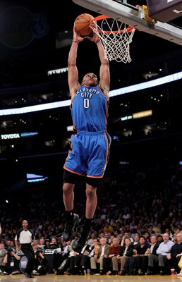 LOS ANGELES, CA - APRIL 20:  Russell Westbrook #0 of the Oklahoma City Thunder dunks against the Los Angeles Lakers during  Game Two of the Western Conference Quarterfinals of the 2010 NBA Playoffs on April 20, 2010 at Staples Center in Los Angeles, Calif