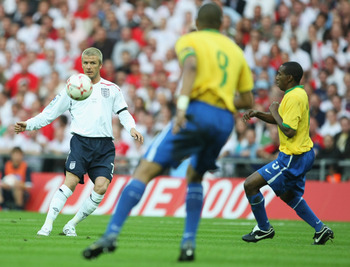 Beckham in action against Brazilians
