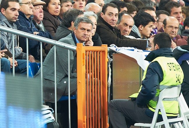 MADRID, SPAIN - NOVEMBER 20:  Real Madrid manager Jose Mourinho looks on during the la liga match between Real Madrid and Athletic Bilbao at Estadio Santiago Bernabeu on November 20, 2010 in Madrid, Spain.  (Photo by Manuel Queimadelos Alonso/Getty Images