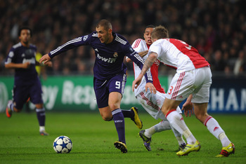 AMSTERDAM, NETHERLANDS - NOVEMBER 23:  Karim Benzema of Real Madrid in action during the UEFA Champions League Group G match between AFC Ajax and Real Madrid at the Ajax Arena on November 23, 2010 in Amsterdam, Netherlands.  (Photo by Laurence Griffiths/G