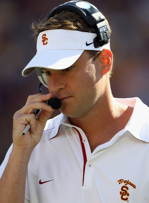 MINNEAPOLIS - SEPTEMBER 18:  Head coach Lane Kiffin of the USC Trojans watches from the sidelines during the game against the Minnesota Golden Gophers on September 18, 2010 at TCF Bank Stadium in Minneapolis, Minnesota.  (Photo by Jamie Squire/Getty Image