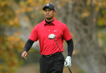 THOUSAND OAKS, CA - DECEMBER 05:  Tiger Woods  walks off the fifth tee during the final round of the Chevron World Challenge at Sherwood Country Club on December 5, 2010 in Thousand Oaks, California.  (Photo by Stephen Dunn/Getty Images)