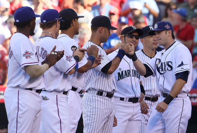 ANAHEIM, CA - JULY 13:  American League All-Star Evan Longoria #3 of the Tampa Bay Rays greets his teammates on American League All-Star prior to the 81st MLB All-Star Game at Angel Stadium of Anaheim on July 13, 2010 in Anaheim, California.  (Photo by Je
