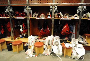 DETROIT - JUNE 12:  A detailted view of the locker room stalls of the Detroit Red Wings after Game Seven of the 2009 NHL Stanley Cup Finals against the Pittsburgh Penguins at Joe Louis Arena on June 12, 2009 in Detroit, Michigan. The Penguins defeated the
