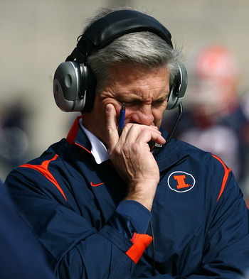 CHAMPAIGN, IL - OCTOBER 10: Head coach Ron Zook of the Illinois Fighting Illini walks the sidelines during a game against the Michigan State Spartans on October 10, 2009 at Memorial Stadium at the University of Illinois in Champaign, Illinois. (Photo by J