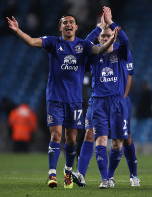 MANCHESTER, ENGLAND - DECEMBER 20:  Tim Cahill of Everton celebrates after victory over Manchester City in the Barclays Premier League match between Manchester City and Everton at City of Manchester Stadium on December 20, 2010 in Manchester, England.  (P