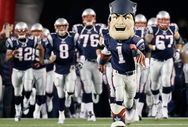 FOXBORO, MA - DECEMBER 19:  The mascot for the New England Patriots leads the team onto the feild before the game against the Green Bay Packers at Gillette Stadium on December 19, 2010 in Foxboro, Massachusetts. The Patriots won the game 31-27.  (Photo by