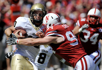 LINCOLN, NE - SEPTEMBER 11: Nebraska Cornhuskers defensive tackle Jared Crick #94 takes downIdaho Vandals quarterback Nathan Enderle #10 during second half action of their game at Memorial Stadium on September 4, 2010 in Lincoln, Nebraska. Nebraska Defeat
