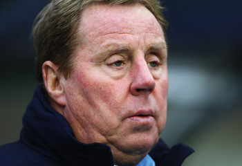 BIRMINGHAM, ENGLAND - DECEMBER 04:  Harry Redknapp, manager of Tottenham Hotspur looks on during the Barclays Premier League match between Birmingham City and Tottenham Hotspur at St Andrews on December 4, 2010 in Birmingham, England.  (Photo by Matthew L