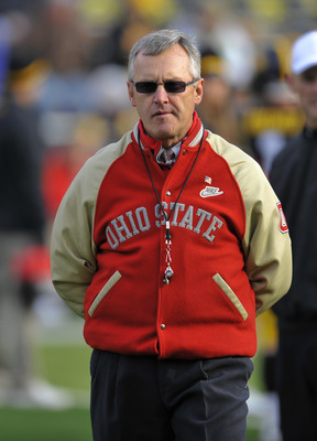 IOWA CITY, IA - NOVEMBER 20:  Ohio State Buckeyes head coach Jim Tressel looks on from the sidelines during pre game warm ups at the University of Iowa Hawkeyes NCAA football game at Kinnick Stadium on November 20, 2010 in Iowa City, Iowa. Ohio State won