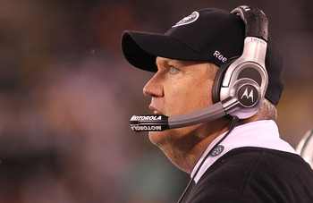 EAST RUTHERFORD, NJ - DECEMBER 12: Head coach of the New York Jets, Rex Ryan looks on from the sideline against the Miami Dolphins at New Meadowlands Stadium on December 12, 2010 in East Rutherford, New Jersey.  (Photo by Nick Laham/Getty Images)