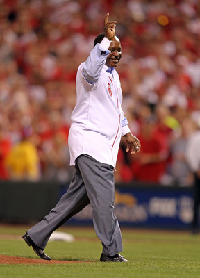 CINCINNATI - OCTOBER 10:  Joe Morgan waves to the crowd after throwing out the first pitch before the Philadelphia Phillies game against the Cincinnati Reds during Game 3 of the NLDS at Great American Ball Park on October 10, 2010 in Cincinnati, Ohio.  (P