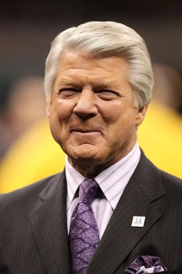 NEW ORLEANS - JANUARY 24:  Former NFL coach and current Fox Sports football analyst Jimmy Johnson looks on as the New Orleans Saints play against the Minnesota Vikings during the NFC Championship Game at the Louisiana Superdome on January 24, 2010 in New