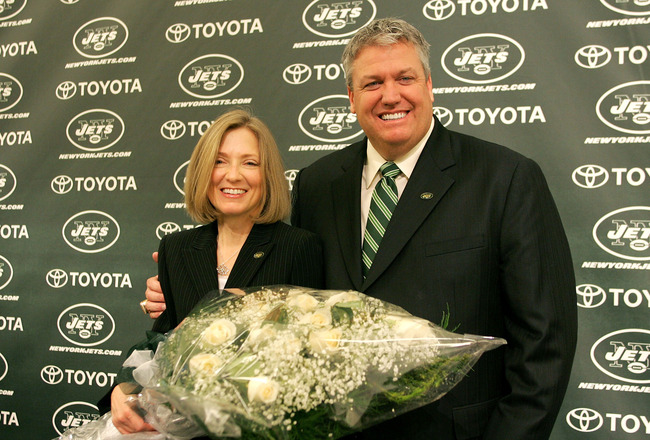 FLORHAM PARK, NJ - JANUARY 21: New York Jets Head Coach Rex Ryan and his wife Michelle Ryan pose for a photo during a press conference announcing Ryan as the new Head Coach of the New York Jets at the Atlantic Health Jets Training Center on January 21, 20