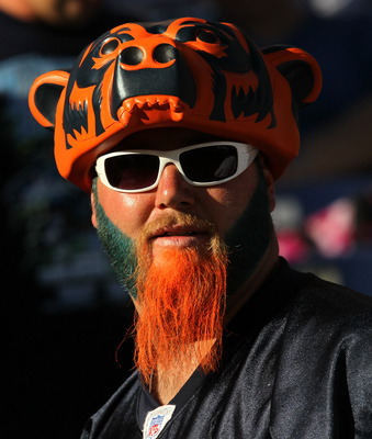 SAN DIEGO - AUGUST 14:  A Bears fan attends the game between the San Diego Chargers and the Chicago Bears on August 14, 2010 at Qualcomm Stadium in San Diego, California.   (Photo by Stephen Dunn/Getty Images)