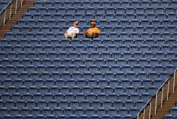 DENVER - AUGUST 21:  Fans settle into their seat early as the Denver Broncos host the Detroit Lions during preseason NFL action at INVESCO Field at Mile High on August 21, 2010 in Denver, Colorado.  (Photo by Doug Pensinger/Getty Images)