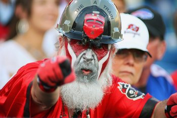 ORCHARD PARK, NY - SEPTEMBER 20:  A Buccaneers fan looks on during the game between the Tampa Bay Buccaneers and the Buffalo Bills at Ralph Wilson Stadium on September 20, 2009 in Orchard Park, New York.  The Bills won 33-20.  (Photo by Rick Stewart/Getty