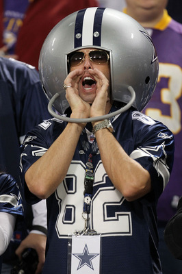 MINNEAPOLIS - JANUARY 17:  A fan of the Dallas Cowboys cheers before the game against the Minnesota Vikings during the NFC Divisional Playoff Game at Hubert H. Humphrey Metrodome on January 17, 2010 in Minneapolis, Minnesota.  (Photo by Chris McGrath/Gett