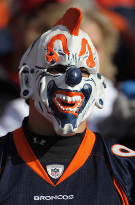 DENVER - NOVEMBER 14:  A masked fan supports the Denver Broncos against the Kansas City Chiefs at INVESCO Field at Mile High on November 14, 2010 in Denver, Colorado. The Broncos defeated the Chiefs 49-29.  (Photo by Doug Pensinger/Getty Images)