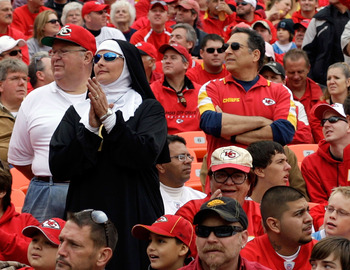 KANSAS CITY, MO - OCTOBER 25:  A fan dressed as a nun prays for the Chiefs prior to the start of the game between the San Diego Chargers and the Kansas City Chiefs on October 25, 2009 at Arrowhead Stadium in Kansas City, Missouri.  (Photo by Jamie Squire/
