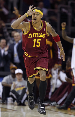 CLEVELAND - OCTOBER 27:  Jamario Moon #15 of the Cleveland Cavaliers celebrates after making a three point basket while playing the Boston Celtics at Quicken Loans Arena on October 27, 2010 in Cleveland, Ohio. Cleveland won the game 95-87. (Photo by Grego