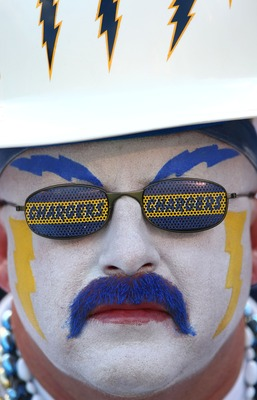 SAN DIEGO - OCTOBER 14:  A San Diego Chargers Fan looks on against the Oakland Raiders during the 2nd half of their NFL game on October 14, 2007 at Qualcomm Stadium in San Diego, California.  (Photo by Donald Miralle/Getty Images)