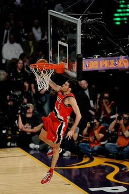 PHOENIX - FEBRUARY 14:  Rudy Fernandez of the Portland Trail Blazers participates in the Sprite Slam Dunk Contest on All-Star Saturday Night, part of 2009 NBA All-Star Weekend at US Airways Center on February 14, 2009 in Phoenix, Arizona.  NOTE TO USER: U