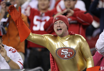 GLENDALE, AZ - NOVEMBER 29:  A fan of the San Francisco 49ers waves during the NFL game against the Arizona Cardinals at the University of Phoenix Stadium on November 29, 2010 in Glendale, Arizona.  (Photo by Christian Petersen/Getty Images)