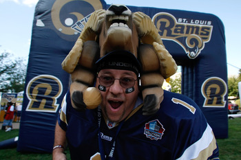 ST. LOUIS, MO - AUGUST 16: A fan shows his support for the Rams as he enters the stadium prior to the game between the St. Louis Rams and the San Diego Chargers at the Edward Jones Dome on August 16, 2008 in St. Louis Missouri. (Photo by Scott Boehm/Getty