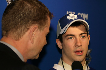 LOS ANGELES, CA - JUNE 26:  Brad Ross, drafted in the second round by the Toronto Maple Leafs is interviewed during day two of the 2010 NHL Entry Draft at Staples Center on June 26, 2010 in Los Angeles, California.  (Photo by Jeff Gross/Getty Images)