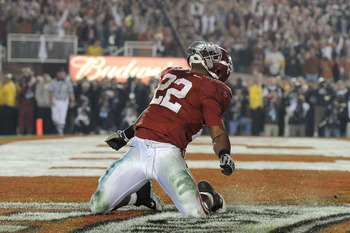 PASADENA, CA - JANUARY 07:  Running back Mark Ingram #22 of the Alabama Crimson Tide celebrates after scoring in the fourth quarter against the Texas Longhorns during the Citi BCS National Championship game at the Rose Bowl on January 7, 2010 in Pasadena,