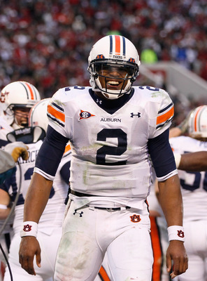 TUSCALOOSA, AL - NOVEMBER 26:  Quarterback Cam Newton #2 of the Auburn Tigers reacts after a touchdown against the Alabama Crimson Tide at Bryant-Denny Stadium on November 26, 2010 in Tuscaloosa, Alabama.  (Photo by Kevin C. Cox/Getty Images)